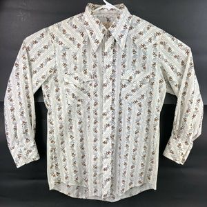 Roper Western Brown White Western Pearl Snap Shirt